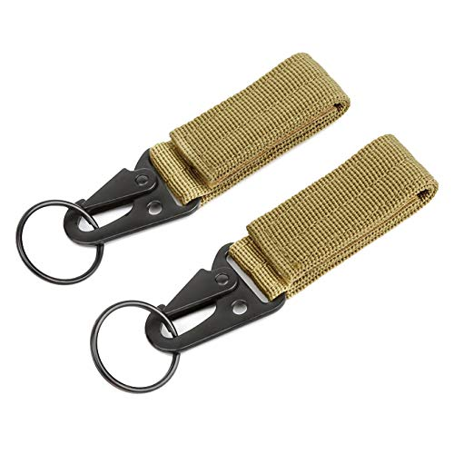 B-COOL Khaki Tactical Gear Clip Band Gear Keeper Pouch Key Chain Nylon Belt Keychain EDC Molle Webbing Key Ring Holder Military Hanger(2 Pack) ()
