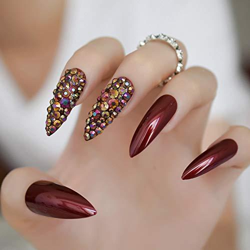 CoolNail Rose Hot Red Nail Long Sharp Head Fake Nails 24-Pcs Rose Red Color Curved False Nail Full Designed Nails valse nagels -