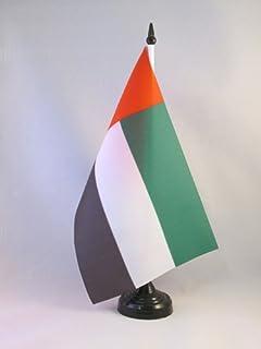 AZ FLAG Fuja/ïrah Table Flag 5 x 8 Black plastic stick and base UAE Emirate of Fuja/ïrah Desk Flag 21 x 14 cm