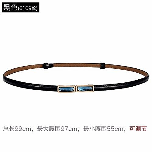 LONFENN A Simple, Thin Waist Belt Leather Belt Decorated with Stylish Girl with a Shirt Skirt Waist Chain, Black (12),55cm-97cm,6109