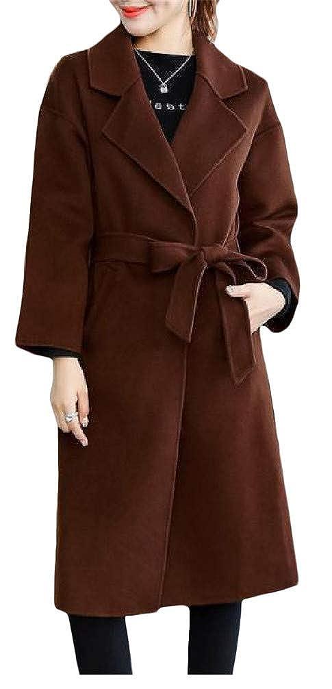 Mocilation Women Loose Belt Lapel Neck Pocket Overcoat Wool Blend Coat Jacket