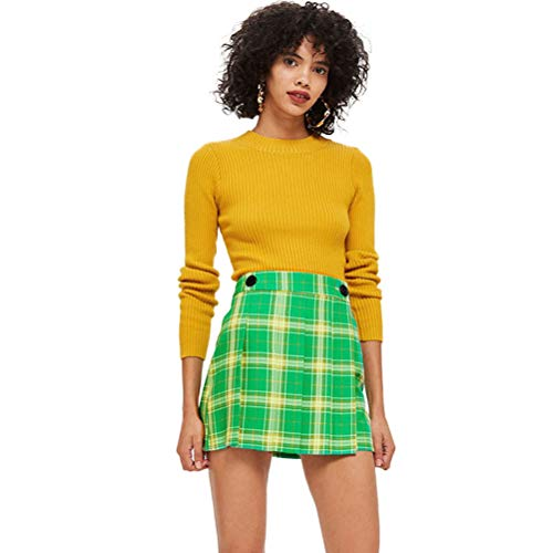 (xiangliood Women's Plaid Pleated Button High Waist School Preppy Short Mini Skirt for Girls)