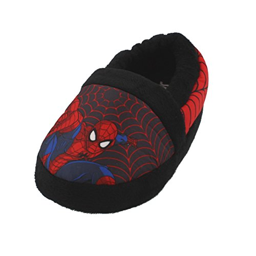 Favorite Characters Spider-Man Boys Aline Slippers (7-8 M US Toddler, Black/Red)
