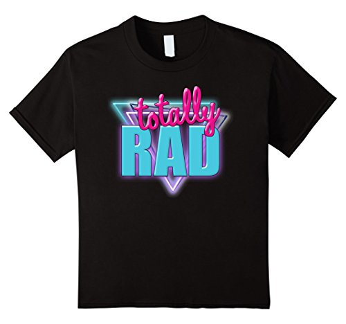 Kids Totally Rad Retro Halloween Costume 1980s T-Shirt 4 Black ()