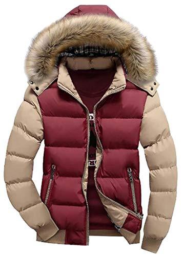 TTYLLMAO Jacket Mens Coat Faux Quilted 2 Sleeve Hoodie Fur Long Block Color rpq1r
