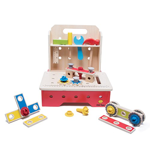 Toy Workbench and Toddler Tool Set - 29 Piece Foldable Wood Kids Tool Bench with Assorted Kids Workbench Tool Toys