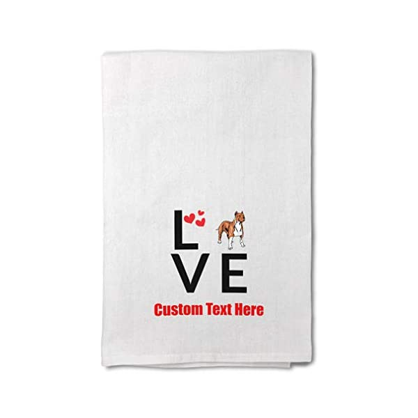 Custom Decor Flour Kitchen Towels Love Hearts American Staffordshire Terrier Pets Dogs Cleaning Supplies Dish Towels Design Only 1