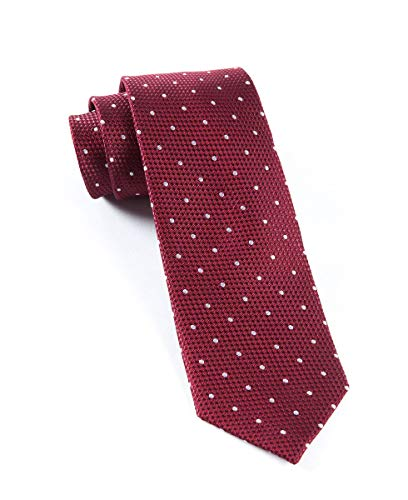 (The Tie Bar 100% Woven Silk Burgundy Solid Textured Grenafaux Dots 3 Inch Tie)