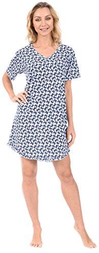 Pink Lady Women's Nightshirt Short Sleeve Loungewear PJ Butterfly Turquoise Medium