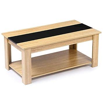 Idmarket Table Basse Contemporaine Tao Plateau Relevable Bois Noir Et Imitation Hetre