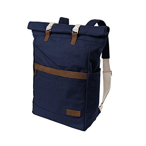 Ansvar Rucksack aus Bio Baumwoll Canvas - Blau - Hochwertiger Damen & Herren Vintage Tagesrucksack aus 100% nachhaltigen Materialien - Der erste Rucksack mit GOTS & Fairtrade Zertifikat