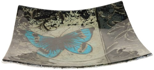 - AngelStar 19053 Handmade and Hand-Painted Glass Blue Butterfly Square Plate, 6-1/2-Inch