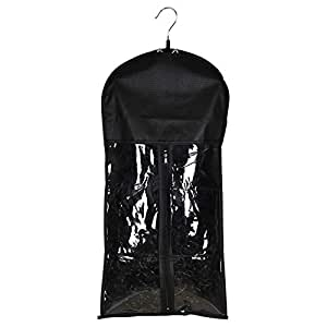 Timoo Hair Extension Holder with Hanger, Portable Hairworks Extension Holder with Double Anti-Slip Cushions & Dustproof Storage Bag, Black, 23 x 11 inch