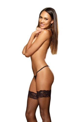Classic Back Seam Fishnet (Dreamgirl Women's Fishnet Thigh-High Stockings, One)