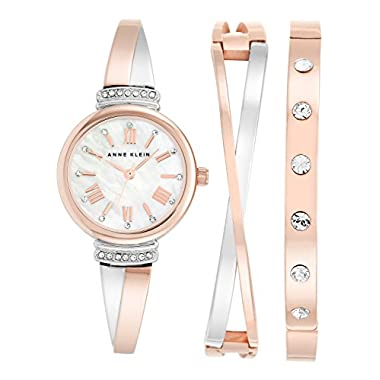 b2431b147 Anne Klein Women's AK/2245RTST Swarovski Crystal Accented Rose Gold-Tone  and Silver-Tone Bangle Watch and Bracelet Set