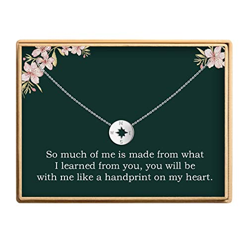 Graduation Gifts for Teachers Delicate Compass Pendant Necklace 925 Sterling Silver Jewelry Inspirational Gifts for Women]()