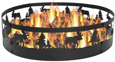 for Camping or Backyard Outdoor Wood Burning Firepit Sunnydaze Four Star Fire Pit Heavy-Duty 0.91mm Thick Steel Construction Large Round 36 Inch Campfire Ring