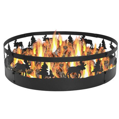 Sunnydaze Wild Moose Fire Pit Campfire Ring, Large Outdoor Heavy Duty Metal Wood Burning Firepit, 36 Inch