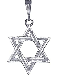 "<span class=""a-offscreen"">[Sponsored]</span>Sterling Silver Star of David Pendant Necklace with Diamond Cuts 24"" Figaro Chain"