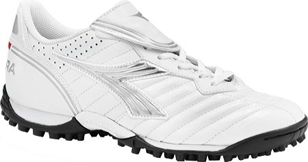 Diadora Women's Scudetto LT Turf Soccer Furf,White/Silver/Black,6  M US