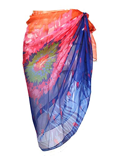 CHIC DIARY Women Chiffon Pareo Beach Wrap Sarong Swimsuit Scarf Cover Up for Vacation (Orange&Blue Floral)