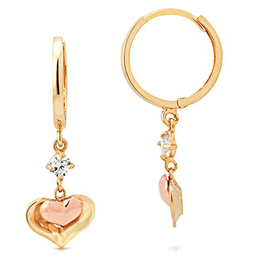 14K Yellow and Rose Gold Heart and CZ Dangling Earrings by Jewel Connection