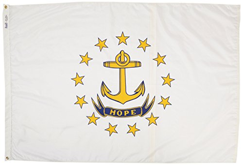 Annin Flagmakers Model 144770 Rhode Island State Flag 4x6 ft. Nylon SolarGuard Nyl-Glo 100% Made in USA to Official State Design Specifications. ()
