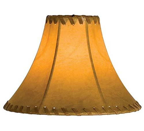 Meyda Tiffany 26350 Faux Leather Hexagon Lamp Shade, 8'' Width x 6'' Height, Tan