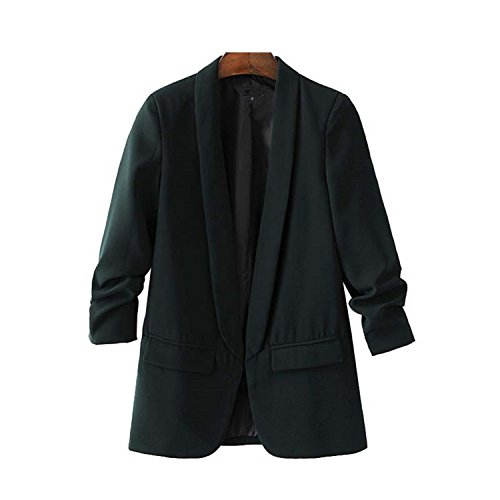 Price comparison product image JIANGTAOLANG Women White Black Green Blazer Crimping Three Quarter Sleeve Notched Pocket Office Tops Green M