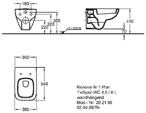 Keramag Wand Tiefspül Wc Renova Nr 1 Plan Weiß 202150000 Amazon