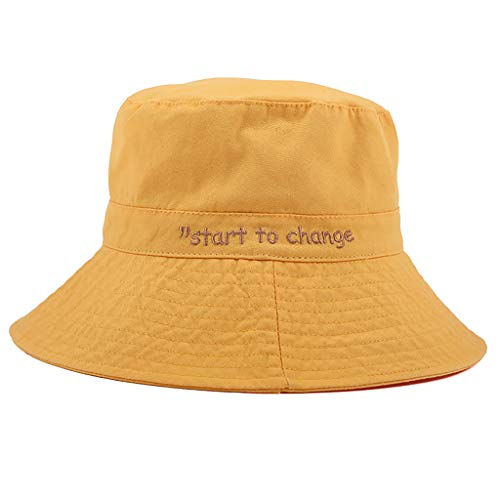 Shmei Unisex Casual UV Protection Sun Hats Summer Hat Women Wide Brim Cap (Yellow)