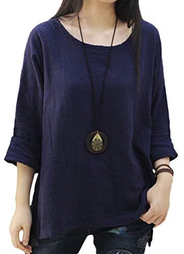 Linen Gauze Top - Soojun Women's Casual Loose Long Sleeve Round Collar Cotton Linen Shirt Blouse Tops, Color Navy, Large