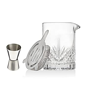 Godinger Silver Art Yarai Cocktail Mixing Drink Glass Set With Jigger