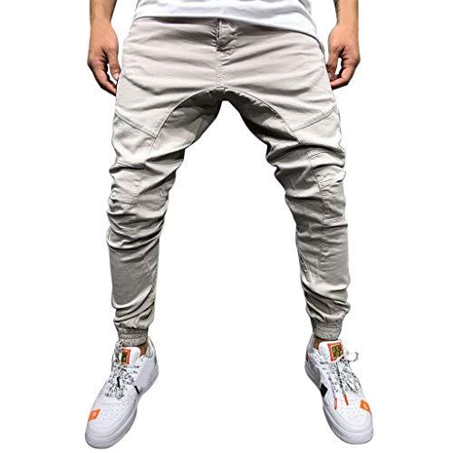 (Men Pants Casual Long Tether Elastic Pocket Solid Jogger Slacks Athletic Fashion Sports Sweatpants Trousers)