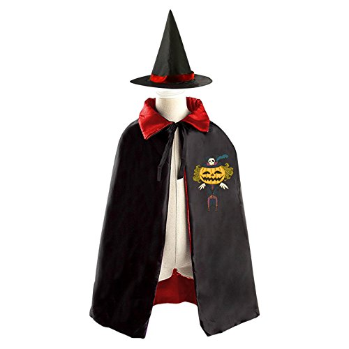 Homemade Clown Costumes Kids (Pumpkin Clown Halloween Reversible Cape and Witch Hat for Kids Red)
