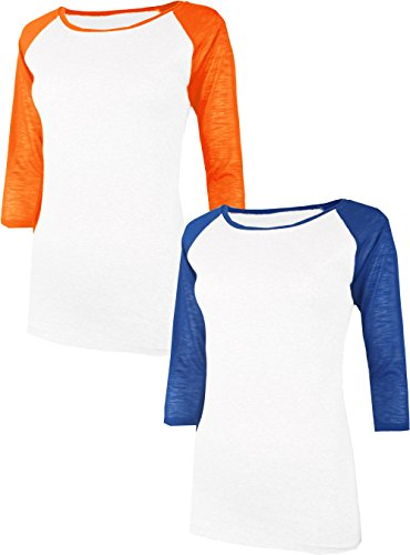 Base Raglan T-shirt (TL Women's 3/4 Sleeve or Short Sleeve Stretchy Raglan Baseball T-Shirt Top SET2_WHORN_WHBLU S)