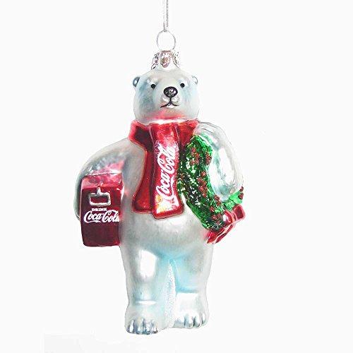 Kurt Adler CC4162 Glass Coca-Cola Bear Ornament with Wreath and Cooler, 4.5
