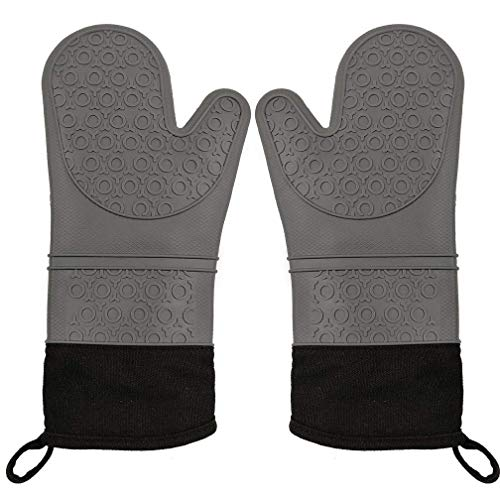 (CalSunO Professional Silicone Oven Mitts Heat Resistant Commercial Grade Extra Long Quilted Cotton Lining Arm Guard- BBQ Grill Kitchen Versatile Insulated Potholder Comfortable Grip 1 Pair Set)
