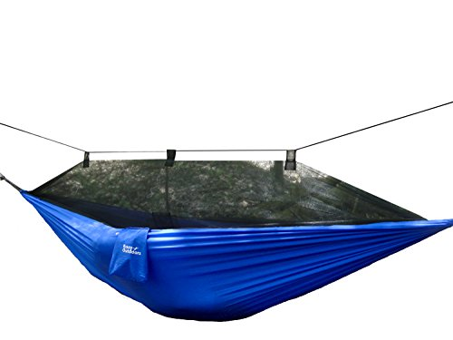 Mosquito Net Hammock - Extra Strong Ripstop Nylon Camping Hammock - Reversible, Compact, Lightweight & Portable with Bug Free Netting - Great for Travel, Beach or Yard - by Krazy Outdoors (Blue)