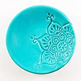 Turquoise Ring Dish - Handmade Jewelry Bowl with star pattern and aqua glaze
