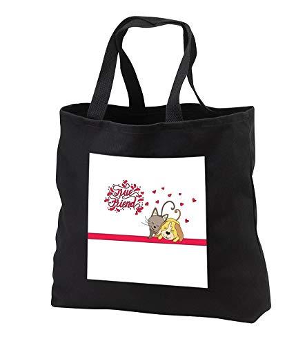 - Uta Naumann Sayings and Typography - Cute Animal Cat Dog Puppy Illustration Typography - True Friend - Tote Bags - Black Tote Bag JUMBO 20w x 15h x 5d (tb_290192_3)