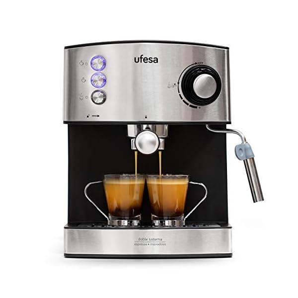 Ufesa CE7240 Macchina caffè espresso, 850 W, Serbatoio estraibile da 1,6 L, 20 bar, 2 opzioni d'uso: Come macchina da… 1
