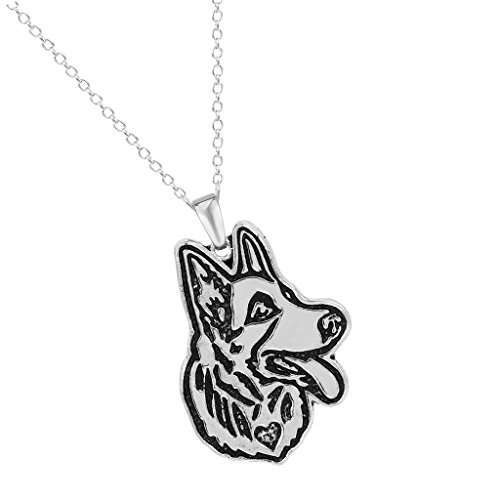 Handmade German Shepherd Puppy Pet Animal Necklaces Pendants Gift for Women and Girls Antique Silver ()