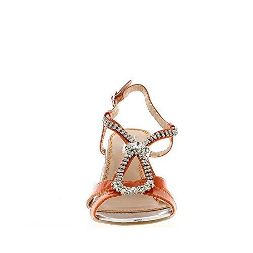 Naranja 9,5 cm con sandalias de tacón de diamantes de imitación