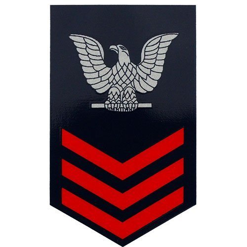 Red Large Clear Decal D60-NR E-6 1st Class Petty Officer