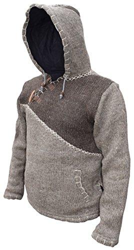 Festival y lana Light Sudadera de tejida con Brown en fabricada Brown capucha Mix del natural con cierre Invierno diagonal qtStf8w