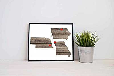 Any Three States Love Wedding Gift Personalized State Natural Series Custom Location Modern Art Print Long Distance Map Art Engagement Bridal Shower Gift