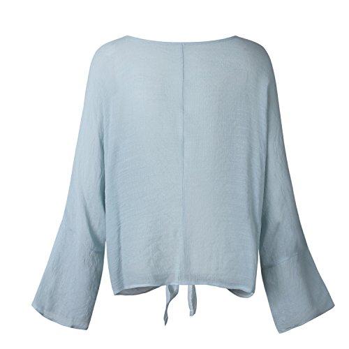 Manche Bowknot Bleu Translucide Manches Longue Femmes Printemps Blouse Automne Clair Cou Tops Flare Shirt O Chemise Femmes L'ananas Clair Bleu P7XwqA7g