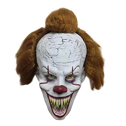 Halloween Exposed Teeth (Adult Clown Mask with Hair and Exposed Teeth for Halloween Costume, Cosplay, Easter, Theme Party)