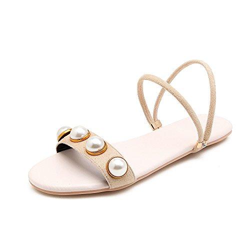 Pearl Sandales Toe Porter Ouvert Femmes Apricot Grande Taille Chaussures Deux Fashion Télévision d0xqRwgaC